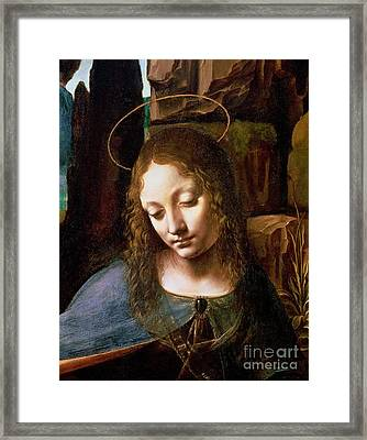 Detail Of The Head Of The Virgin Framed Print by Leonardo Da Vinci