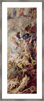 Detail Of The Last Judgement Framed Print by Rubens