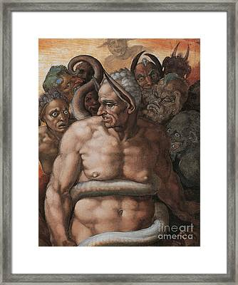Detail Of The Last Judgment Framed Print by Michelangelo