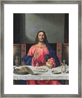 Detail Of The Supper At Emmaus Framed Print by Giovanni Bellini