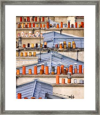 Detail Of Traditional Rooftops In Paris Framed Print