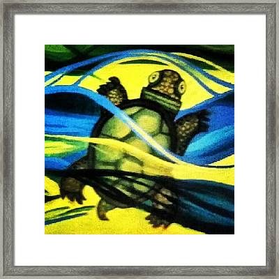 Detail Of Turtle Swimming In  Framed Print