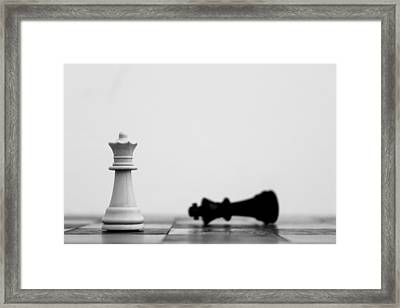 Detail Shot Of White Chess Piece Framed Print by Moritz Haisch / Eyeem