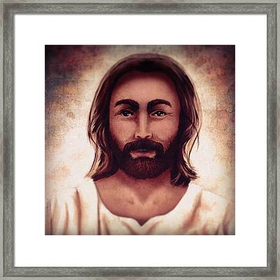 Portrait Of Jesus Framed Print by April Moen