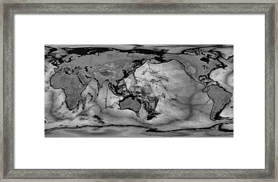 Detailed Geographic World Map Black And White Negative Framed Print