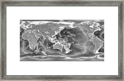 Detailed Geographic World Map Black And White Framed Print