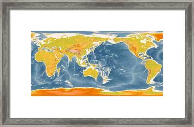 Detailed World Geographic Map Enhanced II   Framed Print
