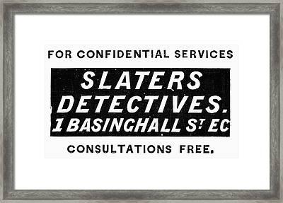 Detective Ad, 1897 Framed Print by Granger
