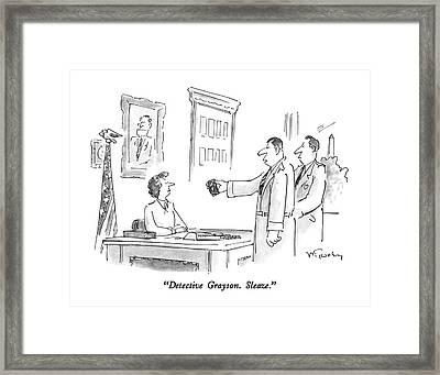 Detective Grayson.  Sleaze Framed Print by Mike Twohy