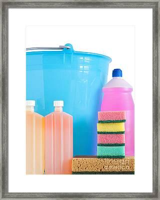 Detergent Bottles Bucket And Sponges Framed Print by Antonio Scarpi