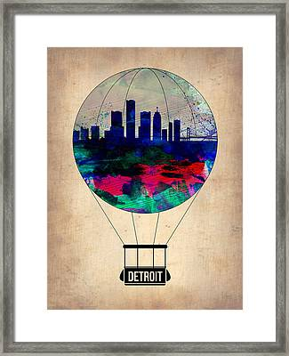 Detroit Air Balloon Framed Print by Naxart Studio