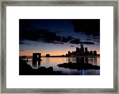 Detroit And Windsor Framed Print by Cale Best