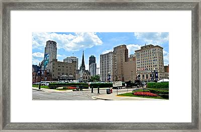 Detroit As Seen From Comerica Framed Print by Frozen in Time Fine Art Photography