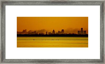 Detroit At Dawn Framed Print