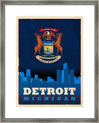 Detroit City Skyline Flag Of Michigan Art Poster Series 001 Framed Print by Design Turnpike