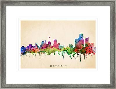 Detroit Cityscape Framed Print