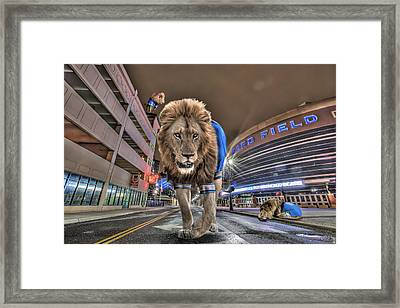 Detroit Lions At Ford Field Framed Print by Nicholas  Grunas