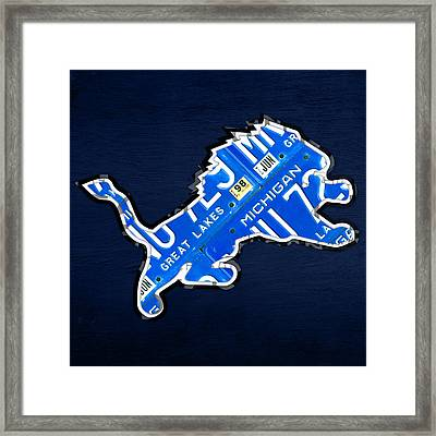 Detroit Lions Football Team Retro Logo License Plate Art Framed Print by Design Turnpike