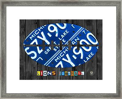 Detroit Lions Football Vintage License Plate Art Framed Print by Design Turnpike
