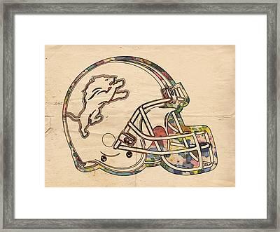Detroit Lions Helmet Vintage Framed Print