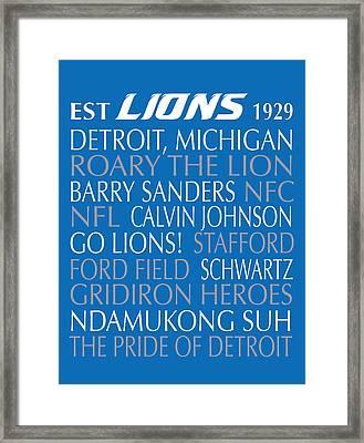Detroit Lions Framed Print by Jaime Friedman