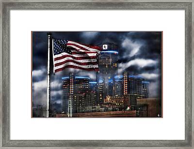 Detroit Mi Usa Flag Framed Print by Nicholas  Grunas