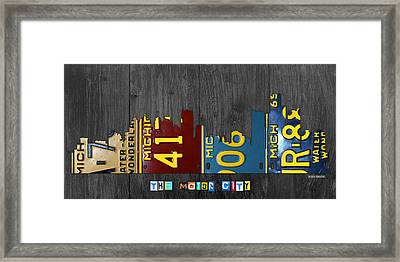 Detroit Michigan City Skyline License Plate Art The Motor City Framed Print by Design Turnpike