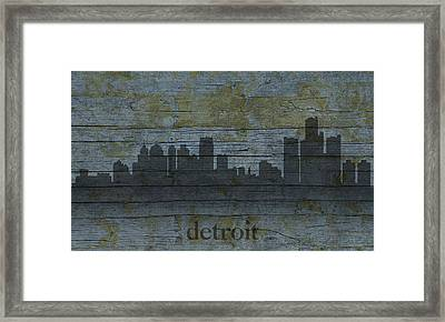 Detroit Michigan City Skyline Silhouette Distressed On Worn Peeling Wood Framed Print