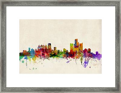 Detroit Michigan Skyline Framed Print