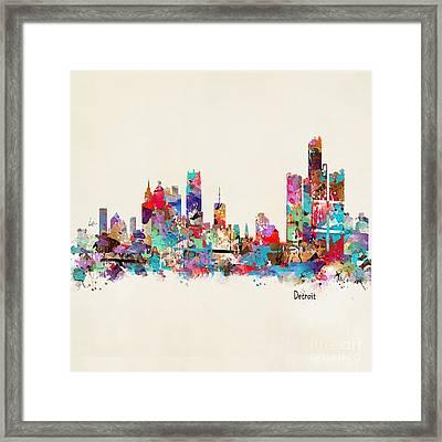 Detroit Michigan Skyline Square Framed Print