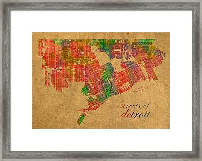 Detroit Michigan Street Map Schematic Watercolor On Worn Parchment Framed Print by Design Turnpike