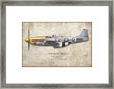 Detroit Miss P-51d Mustang - Map Background Framed Print by Craig Tinder