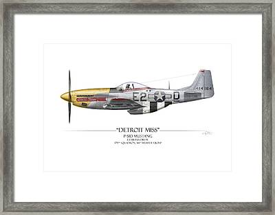 Detroit Miss P-51d Mustang - White Background Framed Print by Craig Tinder
