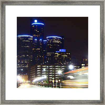 Detroit Night Scape Framed Print by Rexford L Powell