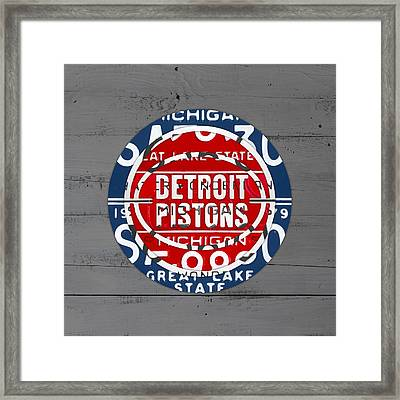 Detroit Pistons Basketball Team Retro Logo Vintage Recycled Michigan License Plate Art Framed Print