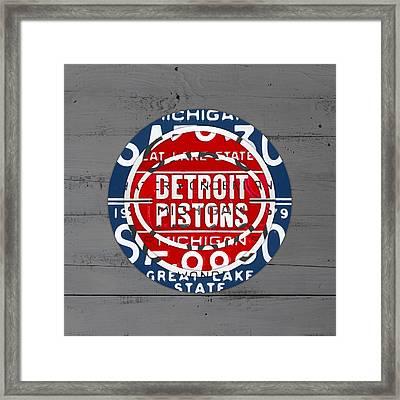Detroit Pistons Basketball Team Retro Logo Vintage Recycled Michigan License Plate Art Framed Print by Design Turnpike