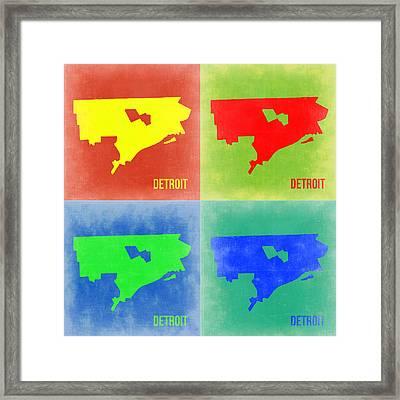 Detroit Pop Art Map 2 Framed Print