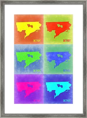 Detroit Pop Art Map 3 Framed Print
