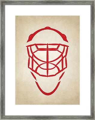 Detroit Red Wings Goalie Mask Framed Print by Joe Hamilton