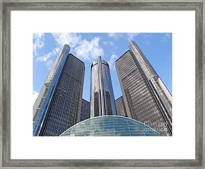 Detroit Renaissance Center Framed Print by Ann Horn