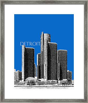 Detroit Skyline 1 - Blue Framed Print