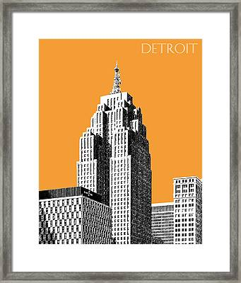 Detroit Skyline 2 - Orange Framed Print