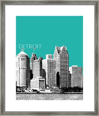 Detroit Skyline 3 - Teal Framed Print