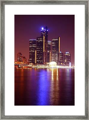 Detroit Skyline 5 Framed Print by Gordon Dean II