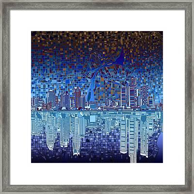 Detroit Skyline Abstract 2 Framed Print by Bekim Art