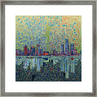 Detroit Skyline Abstract 3 Framed Print