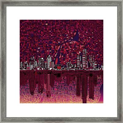 Detroit Skyline Abstract Framed Print by Bekim Art