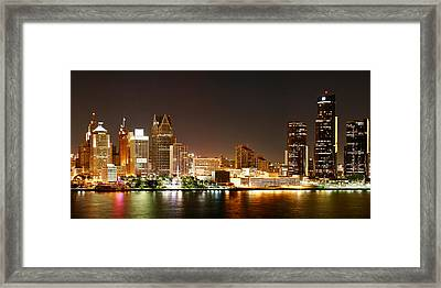 Detroit Skyline At Night-color Framed Print by Levin Rodriguez