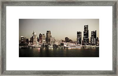 Detroit Skyline At Night Framed Print by Levin Rodriguez