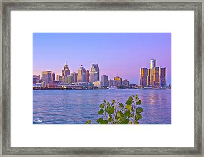 Detroit Skyline At Sunset Framed Print